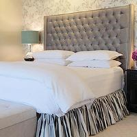 Jenn Feldman Designs - bedrooms - metallic, silver, wallpaper, accent wall, platinum, gray, tufted, headboard, platinum, gray, ruffled, bed skirt, glossy, black, nightstands, mercury glass, lamps, light gray, tufted, bench, gray velvet headboard, velvet tufted headboard, gray velvet tufted headboard, gray headboards,
