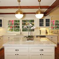 Jenn Feldman Designs - kitchens - box beams, white, kitchen cabinets, kitchen island, marble, countertops, hicks pendant, kitchen hicks pendants, hicks pendants kitchen, Thomas O'Brien Hicks Pendant,