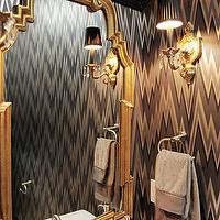 Jenn Feldman Designs - bathrooms - gold, mirror, white, pedestal, sink, glam powder room, glamorous powder room, Osborne &amp; Little Volte Face Wallpaper,