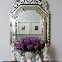 Jenn Feldman Designs - entrances/foyers - lilac, walls, Venetian, mirror, Chinese, figurines, glossy, black, console, table, venetian mirror, foyer mirror, foyer venetian mirror,