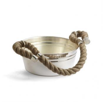 Decor/Accessories - Silver & Rope Barware: Low Bowl | Pieces - silver, rope, low bowl