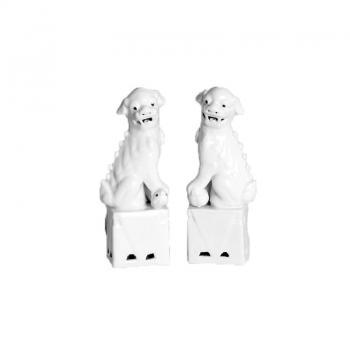 Pair of Large White Foo Dogs, Pieces