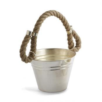 Decor/Accessories - Silver & Rope Barware: Ice Bucket | Pieces - silver, rope, ice bucket