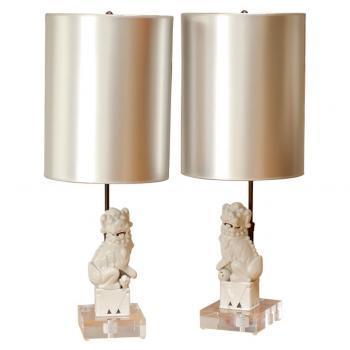 Lighting - Pair of Foo Dog Lamps | Pieces - foo dog, lamps, metallic, shade