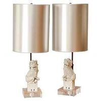 Lighting - Pair of Foo Dog Lamps | Pieces - foo dog, lamps, metallic, shade