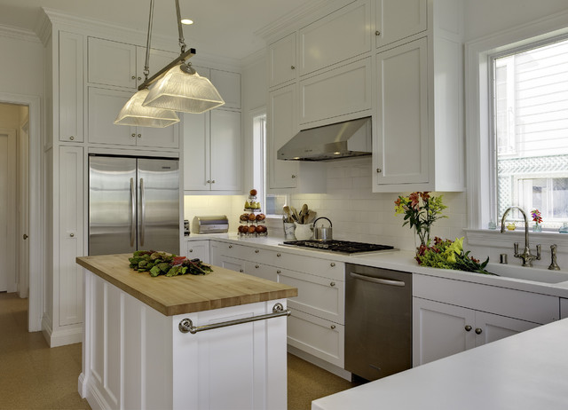 White Kitchen Cabinets With Butcherblock