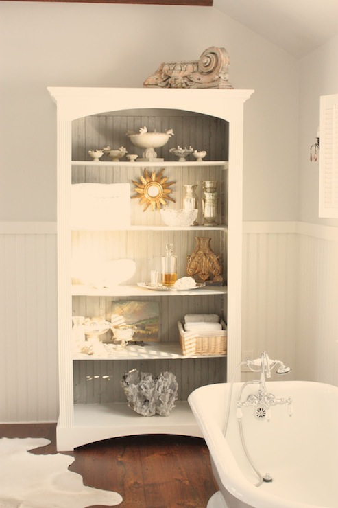 For the Love of a House - bathrooms - Benjamin Moore - Horizon - Benjamin Moore White Dove, gray, walls, white, chair rail, beadboard, white, bathroom cabinet, white, cowhide, rug, freestanding, tub, beadboard cabinet, beadboard bathroom cabinet,