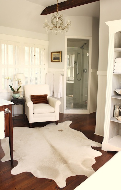 For the Love of a House - bathrooms - Benjamin Moore - Horizon - Benjamin Moore White Dove, gray, walls, white, shutters, beadboard, corner, shower, box beams, white, cowhide, rug, white, bathroom cabinet,