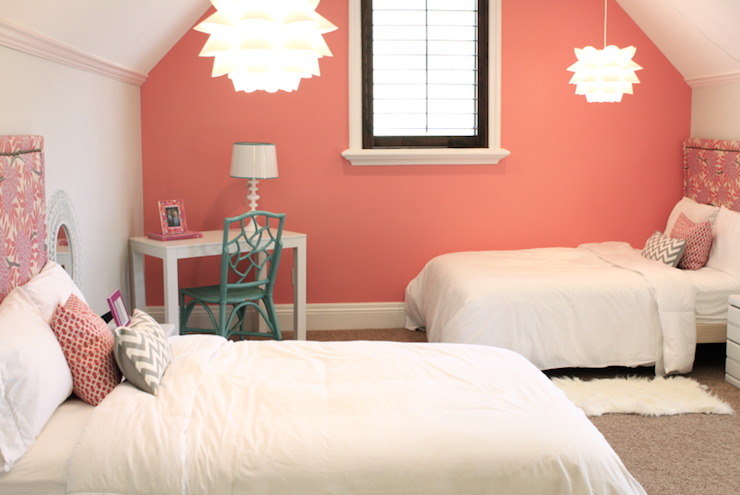 Coral Paint Colors, Contemporary, girl's room, Benjamin Moore Coral Reef, Danielle Oakey Interiors