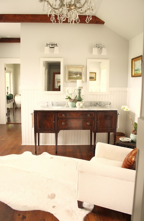 For the Love of a House - bathrooms - Benjamin Moore - Horizon - Benjamin Moore White Dove, Restoration Hardware Dillon Double Sconce, cherry, box beams, gray, walls, white, chair rail, beadboard, white, mirrors, white, cowhide, rug, crystal chandelier,