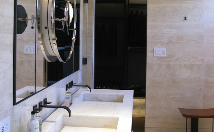 Bronze Wall Mounted Faucets Contemporary Bathroom