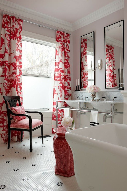 Toile Curtains Contemporary Bathroom Sarah