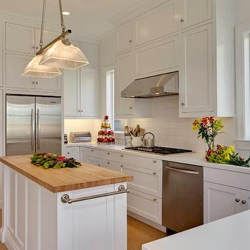 Mahoney Architects & Interiors - kitchens - glossy, white, floor to ceiling, shaker, kitchen cabinets, marble, countertops, kitchen island, butcher block, top, butcher block, butcher block countertops, butcher block kitchen island, butcher block island,