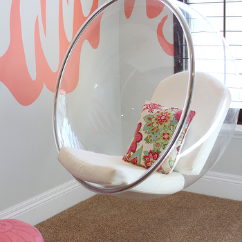Danielle Oakey Interiors - girl's rooms - gray, walls, bubble chair, acrylic bubble chair, hanging bubble chair, acrylic hanging chair, acrylic hanging bubble chair, Benjamin Moore Coral Reef, Eero Aarnio Bubble Chair With White Seat Cushions, Pink Moroccan Leather Pouf,