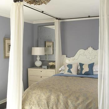 SPI Design - bedrooms: abalone, shell, chandelier, purple, walls, wrought iron, rode, canopy, white, linen, sheers, white, rococo, bed, blue, silk, silhouette, pillows, rococo headboard, white rococo headboard,