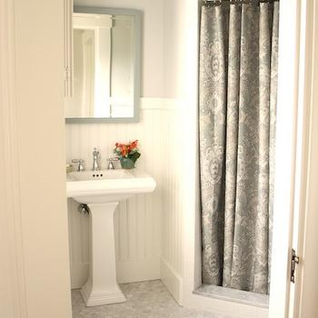For the Love of a House - bathrooms - gray, walls, glossy, white, pedestal, sink, gray, mirror, paisley, shower curtain, white, beadboard, white, carrara, marble, hex, tiles, floor, shower curtain, gray shower curtain, paisley shower curtain, gray paisley shower curtain, Benjamin Moore White Dove,
