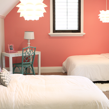Danielle Oakey Interiors - girl's rooms - Benjamin Moore - Coral Reef - vaulted ceiling, coral, accent, wall, gray, walls, coral walls, coral paint, coral paint colors, coral accent wall,