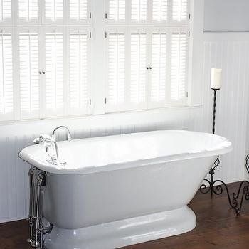 For the Love of a House - bathrooms - white, shutters, chair rail, beadboard, gray, walls, polished nickel, floor-mount, tub filler, white, cowhide, rug, freestanding, tub, beadboard walls, beadboard bathroom, bathroom beadboard, Benjamin Moore White Dove,