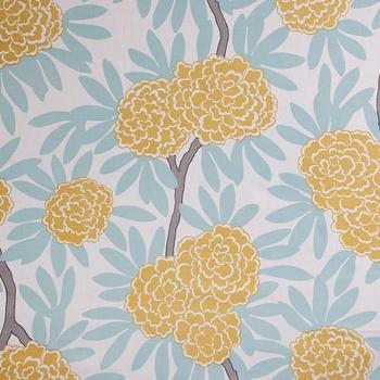 Fabrics - Caitlin Wilson Textiles: Mustard Fleur Chinoise Fabric - mustard, fleur, chinoise, fabric