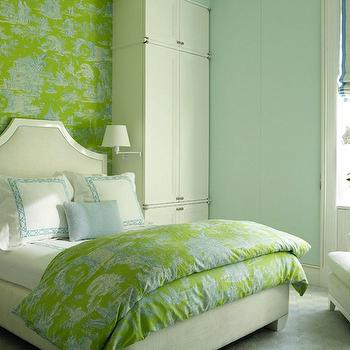 David Kleinberg Design Associates - girl's rooms - blue, walls, green, blue, Chinoiserie, toile, wallpaper, accent wall, duvet, white, floor to ceiling, cabinets, flanking, white, clipped corners, bed, white, duvet, shams, teal, blue, lattice, stitching, powder, blue, pillow, white, swing-arm, sconces, green and blue girls room, green and blue girls bedroom,
