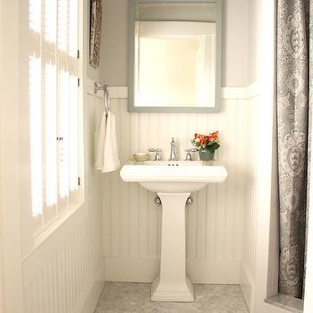 For the Love of a House - bathrooms - white, carrara, marble, hex, tiles, floor, corner, shower, paisley, shower curtain, white, pedestal, sink, gray, mirror, white, chair rail, beadboard, grays hower curtain, paisley shower curtain, gray paisley shower curtain, Benjamin Moore White Dove,