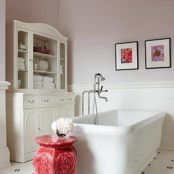 Sarah Richardson Design - bathrooms - lavender, walls, white, vintage, cabinet, freestanding, tub, chair rail, beadboard, vintage, penny, tiles, floor, glass front cabinet, glass front linen cabinet, glass front bathroom cabinet,