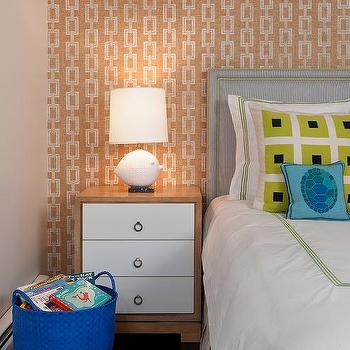 Annsley Interiors - boy's rooms - blue, ikat, rug, gray, linen, headboard, nailhead trim, white, duvet, shams, green, stitching, two-tone, nightstand, chain link wallpaper, chain link, Phillip Jeffries Voyage Collection Chain link Wallpaper,