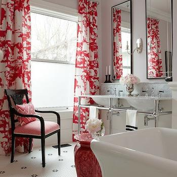 Amazing red and lavender bathroom with red Chinoiserie toile curtains framing pink ...