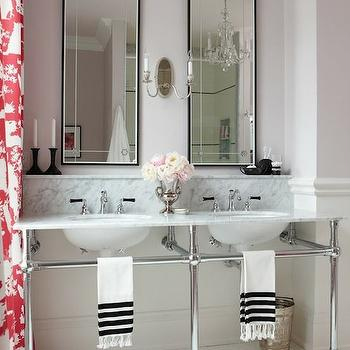 Sarah Richardson Design - bathrooms - vintage, penny, tiles, marble, top, 3-leg, washstand, double sinks, red, Chinoiserie, toile, drapes, lavender, walls, marble top double washstand, 3 leg double washstand, marble double washstand,