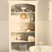 For the Love of a House - bathrooms - Benjamin Moore - Horizon - gray, walls, white, chair rail, beadboard, white, bathroom cabinet, white, cowhide, rug, freestanding, tub,