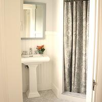 For the Love of a House - bathrooms - Benjamin Moore - Moonshine - gray, walls, glossy, white, pedestal, sink, gray, mirror, paisley, shower curtain, white, beadboard, white, carrara, marble, hex, tiles, floor,