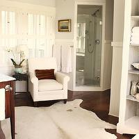 For the Love of a House - bathrooms - gray, walls, white, shutters, beadboard, corner, shower, box beams, white, cowhide, rug, white, bathroom cabinet, Benjamin Moore White Dove,
