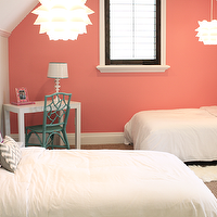 Danielle Oakey Interiors - girl's rooms - Benjamin Moore - Coral Reef - vaulted ceiling, coral, accent, wall, gray, walls,  Coral accent wall,