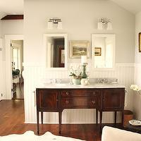 For the Love of a House - bathrooms - silver, gray, walls, white, chair rail, beadboard, double bathroom vanity, marble, top, white, mirrors, white, cowhide, rug, freestanding, tub, Benjamin Moore White Dove, Restoration Hardware Dillon Double Sconce,