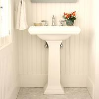 For the Love of a House - bathrooms - Benjamin Moore - Horizon - white, carrara, marble, hex, tiles, floor, white, pedestal, sink, gray, mirror, white, chair rail, bneadboard,