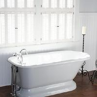 For the Love of a House - bathrooms - white, shutters, chair rail, beadboard, gray, walls, polished nickel, floor-mount, tub filler, white, cowhide, rug, freestanding, tub, Benjamin Moore White Dove,