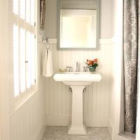 For the Love of a House - bathrooms - white, carrara, marble, hex, tiles, floor, corner, shower, paisley, shower curtain, white, pedestal, sink, gray, mirror, white, chair rail, beadboard, Benjamin Moore White Dove,