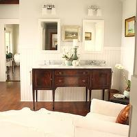 For the Love of a House - bathrooms - cherry, box beams, gray, walls, white, chair rail, beadboard, white, mirrors, white, cowhide, rug, crystal chandelier, Benjamin Moore White Dove, Restoration Hardware Dillon Double Sconce,