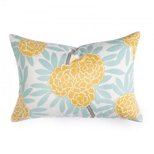 Pillows - Caitlin Wilson Textiles: Mustard Fleur Chinoise Pillow - mustard, fleur, chinoise, pillow
