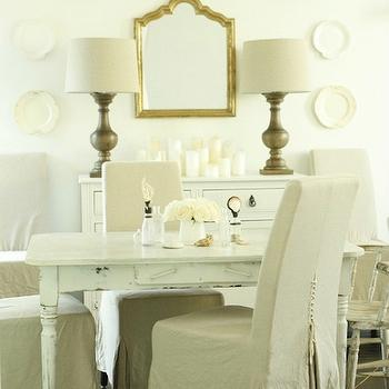 In the Fun Lane - dining rooms - gold, mirror, white, cabinet, buffet, white, washed, farmhouse, dining table, turned legs, gray, linen, slipcover, dining chairs, wood, lamps, white washed table, white washed dining table, dining table white washed,