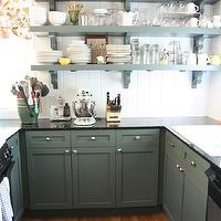 Urban Grace Interiors - kitchens - roman shades, green, kitchen cabinets, black, granite, countertops, green, shelves, beadboard, backsplash, green cabinets, green kitchen cabinets, green shelves, green kitchen shelves, Victoria Hagan Four Seasons - Autumn,