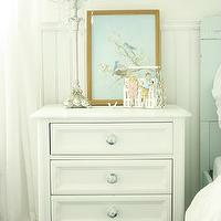 In the Fun Lane - girl's rooms - chair rail, beadboard, pale, blue, twin, headboard, white, vintage, nightstand, girls nightstand, girls bedside table,