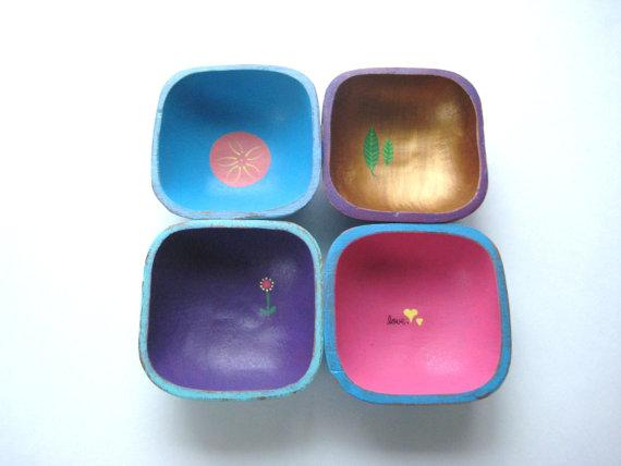 Decor/Accessories - Tiny Pretty Bowls Set of 4 Upcycled Funky by GreenFoxStudio - tint, pretty, bowls