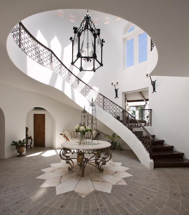 Elegant Foyer Entrances : Story foyer mediterranean entrance