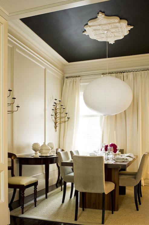 McGill Design Group - dining rooms - black, painted, ceiling, ivory, walls, ivory, drapes, walnut, dining table, taupe, velvet, dining chairs, jute, rug, glossy, black, half moon, console, table,