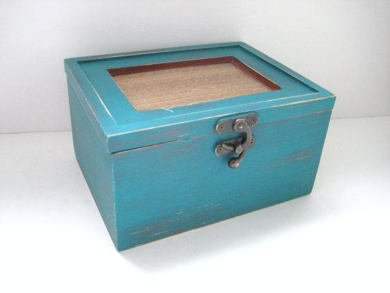 Decor/Accessories - Rustic Teal Storage Box Shabby Chic Distressed by GreenFoxStudio - rustic, teal, storage, box