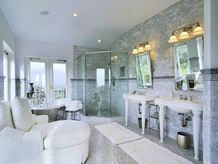 His And Her Bath Mats Transitional Bathroom