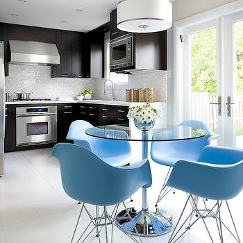 Brandon Barre Photography - kitchens - L shaped, espresso, stained, kitchen cabinets, white, quartz, countertops, marble, mosaic, tiles, backsplash, glass-top, nickel, table, blue dining chairs, molded plastic eiffel armchairs, blue molded plastic chairs, Eames Molded Plastic Eiffel Armchairs - Light Blue,