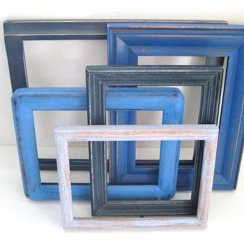 Art/Wall Decor - Shabby Chic Photo Frames Cottage Blue Gallery by GreenFoxStudio - cottage, blue, distressed, picture, frames