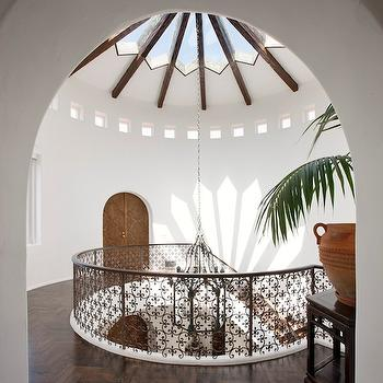 entrances/foyers - spanish, glass, dome, ceiling, iron, staircase, railing, wood floors, chevron, herringbone, pattern, dome ceiling, glass dome ceiling,